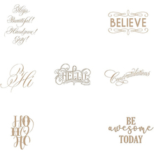 Believe Beautiful Handsome Hello Hi Ho Artistic Greeting Words Hot Foil Plates for Scrapbooking DIY Paper Cards Craft New 2019