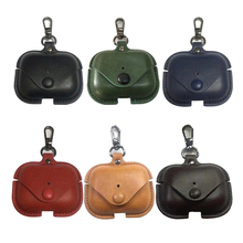JINSERTA Leather Case for Airpods Pro Luxury Protective Cover with Anti-lost Buckle for Air Pods Pro
