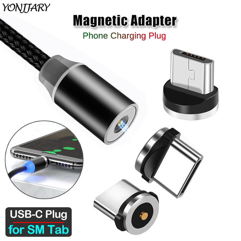 Round Magnetic Charging Cable Adapter For Samsung Galaxy Tab A 7.0 8.0 10.1 10.5 2018 2019 S4 S5e S6 Lite Micro USB Type C Plug