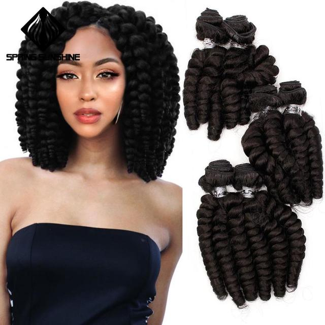 Spring sunshine Loose Wave Soft Funmi Synthetic Hair Weaves 6 Bundles One Pack Black Short Hair Weft Extensions