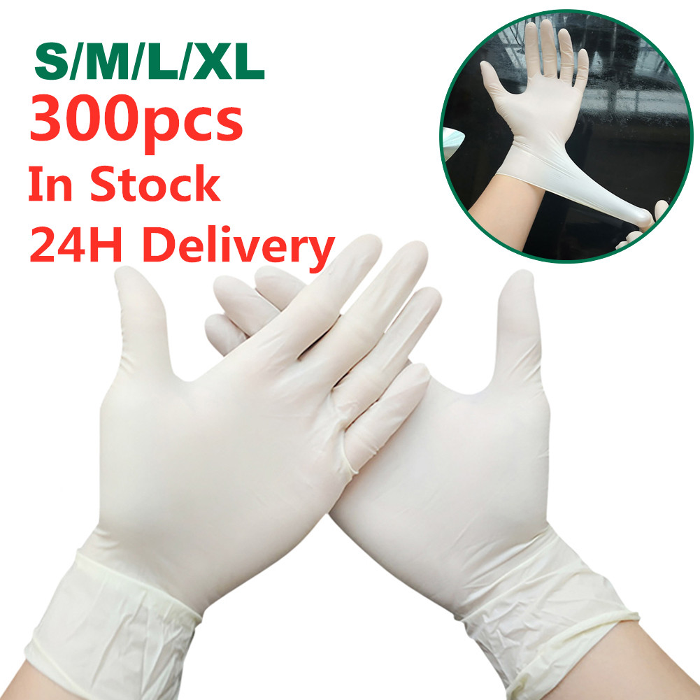 300pcs Wear-Resistant Disposable Gloves Rubber Latex Food Medical Household Cleaning Gloves Anti-Static Fast Shipping