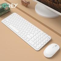 2.4g sem fio teclado silencioso ergonômico mouse redondo keycap teclado gaming mouse para macbook pro computador portátil teclado mouse Combos de teclado e mouse Computador e Escritório -
