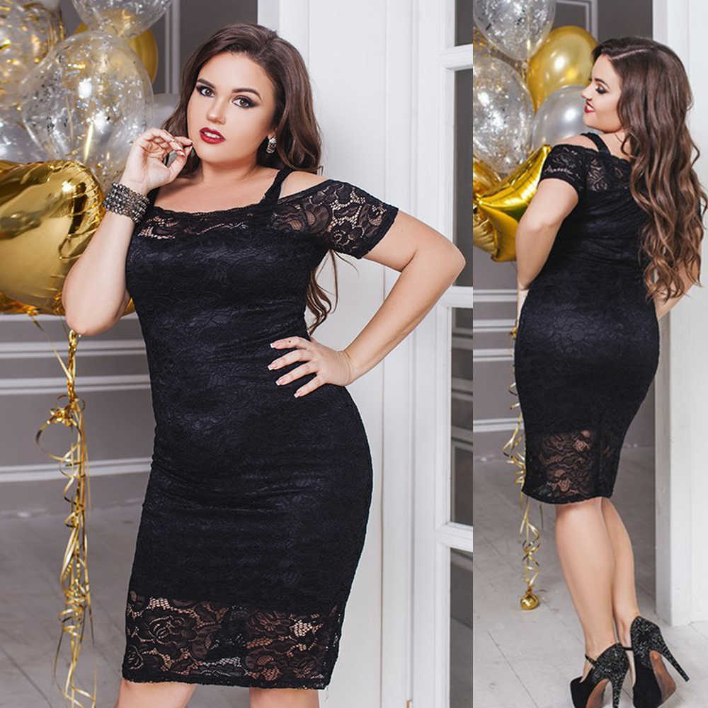 2019 Vrouwen Jurk Zomer Jurken Plus Size 5XL Zwart Kant Sexy Bodycon Gothic Jurk Off Shoulder Vintage Party Dress vestido d35