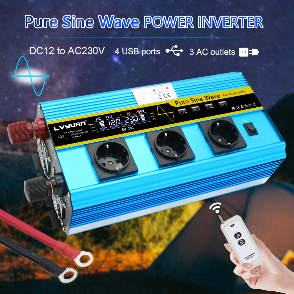 12000W Peak LCD Home car EU Socket Pure Sine Wave12V DC to 230V 3-4 AC Socket 4 USB with wireless remote control power inverter