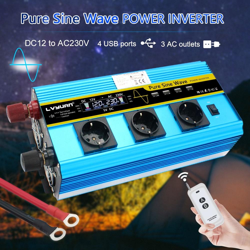 Prise ue 12000W Peak LCD pour maison/voiture | Prise ue pur Sine Wave12V DC à 230V 3-4 prise AC 4 USB avec télécommande sans fil, onduleur électrique