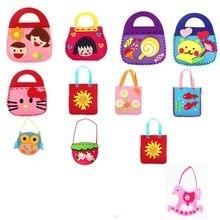Handmade Cartoon DIY Set Creative Learning Education Fabric Hand Bag Arts Kids Crafts