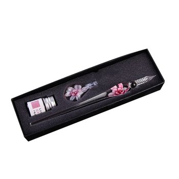 gift Glass Dip Crystal Pen Signature Ink  Flower for Writing Art Decoration Transparent Fountain Gold Pastel