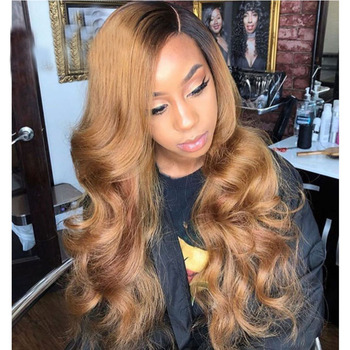 SimBeauty 360 Lace Frontal Human Hair Wigs For Black Women Ombre Honey Blonde Lace Front Wig Body Wave PrePlucked U Part Wigs