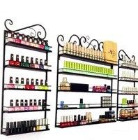 3Pcs/Set 5 Layer Iron Nail Polish Shelf Black Nail Shop Exhibition Shelf Nail Polish Display Wall Rack Makeup Organizer