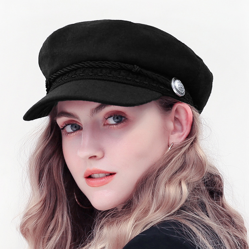 Wool Beret Hat Fiddler French-Style Winter Women Cap-Hat Flat-Caps Autumn Black Fashion