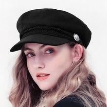 Fashion Winter Wool Beret Hat Women 2018 Autumn Black Fiddler Cap Hat French Sty