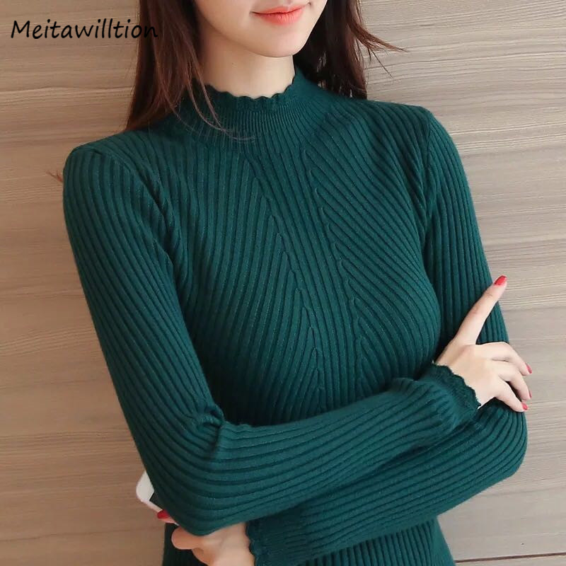 Pullover Tops Turtleneck Sweater Knitted Long-Sleeve Slim Casual Striped Autumn Women title=