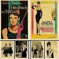 Póster vintage de Papel kraft para decoración de pared del dormitorio, pegatinas de Papel kraft para el desayuno en Tiffany, para actor, Audrey, Hepburn