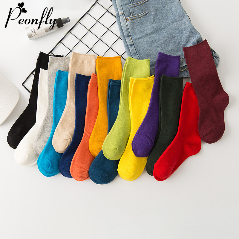 PEONFLY Harajuku Autumn Solid Color Women Socks Candy Cotton Ladies Ankle Students Casual Colorful Yellow Green Red Funny Socks
