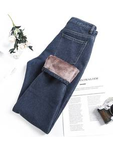 Karsany Winter Jeans Pants Fleece Lined Boyfriend Warm Harem Denim High-Waist Femme Thick