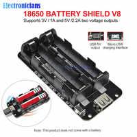 ESP8266 ESP32 Dual 18650 Lithium-Batterie Schild V8 5V 2.2A 3V 1A Mobile Power Bank Batterie Lade Modul micro USB Für Arduino