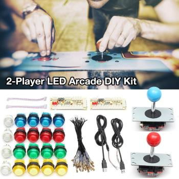 New 2-Player DIY Arcade Joystick Kit With 20 LED Arcade Buttons & 2 Joysticks &2 USB Encoder Kit & Cables Arcade Game Parts Set one player arcade game diy parts kit usb encoder pc joystick retro game diy kit for raspberry pi 3 retropie