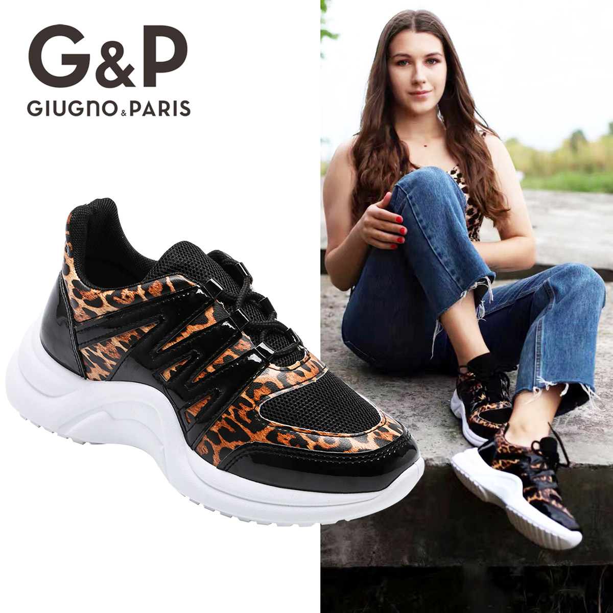 Leopard Sneaker Women White Outsole 2019 Platform Flats Shoes Comfortable Chunky Heels Genuine  PU Leather With Suede