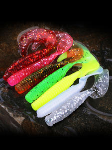 Salt-Smell Wobblers Bait-Bass Curl Worm Fishing Lures Soft-Lure Pesca Silicone Long-Tail