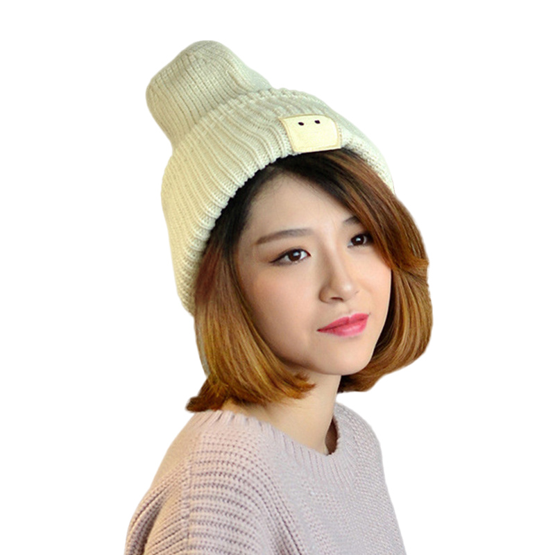 Sparsil New Ladies Warm Knitted Hats Unisex Casual Smiley Face Caps Autumn Winter Women Men Solid Color Cute All-match Beanies