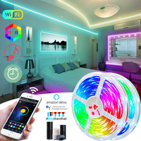 25M 10M 5050 RGB LED Strip Light nastro a diodi impermeabile 5M nastro flessibile a led DC 12V adattatore telecomando IR o compatibile con Bluetooth
