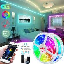 Tira de luces LED RGB 5050 + mando a distancia IR o Bluetooth, cinta de diodos resistente al agua de 5M, flexible, adaptador DC 12V, 25M/10M