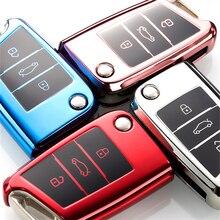 내마 모성 새로운 소프트 TPU 자동차 키 케이스 커버 폭스 바겐 폭스 바겐 골프 7 mk7 좌석 이비자 레온 FR 2 Skoda 옥타 비아에 대한 Altea 아즈텍