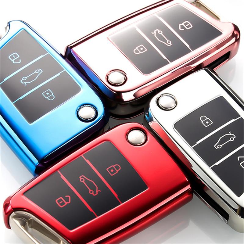 Wear-resistant New Soft TPU Car Key Case Cover For Volkswagen VW Golf 7 Mk7 Seat Ibiza Leon FR 2 Altea Aztec For Skoda Octavia
