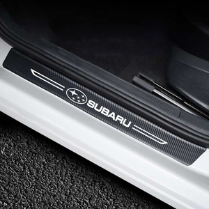 4Pcs Car Threshold Protector Carbon Fiber Leather Door Sill Sticker For Subaru FORESTER Crosstrek vx LEGACY impreza Ascent