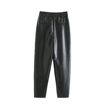 2020 New Fashion Autumn Winter Women High Waist Black Faux Leather Pants Lady PU Loose Pencil Trousers Elegant Pocket Streetwear 4