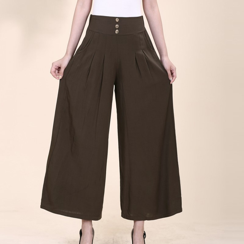 Skirt Pants Suit Capri Summer Mom Middle-aged Flax Loose Pants Women's Summer Years Cotton Linen Loose-Fit