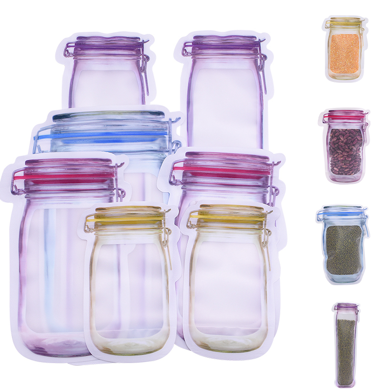 Portable Reusable PE Mason Jar Bottles Bags Snack Candy Biscuit Nuts Zipper Sealed Fresh Storage Food Bag Kitchen Organizer Bags