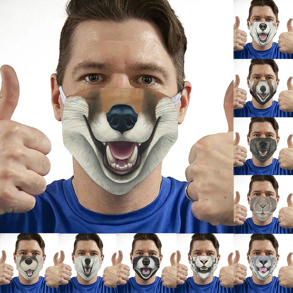Masque unisexe avec imprimé Animal pour adultes, protection buccale en plein air, respirant et lavable, pour faire du vélo, accessoires de fête