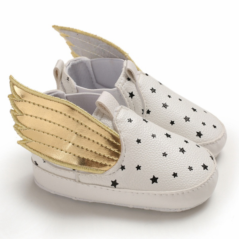 Baby Boy Girl Shoes Infant Newborn Lovely PU Anti-slip Soft Sole Crib Shoes Infant Walking Shoes Newborn Toddler Cute Wing Shoes