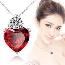 10# 2020 Woman Necklace Silver Red Garnet Heart Crystal Pendant Necklace Valentine Gift Fashionable Elegant Women's Necklace(China)