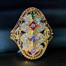 Anel de cor de ouro do vintage por atacado colorido zircão indiano estilo mulher festa anéis jóias moda