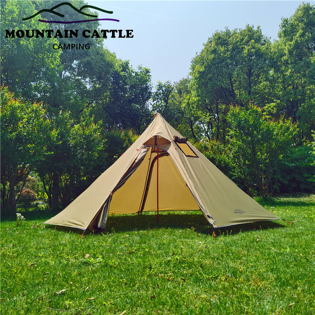 3-4 Person Ultralight Outdoor Camping Big Pyramid Tent Awnings Shelter with Chimney Hole for Bird watching Cooking 4