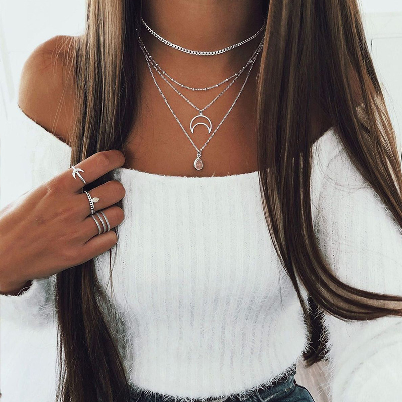 Resin Water Drop Bohemia Hollow Moon Pendants Necklaces for Women Gold Silver Color 2020 Fashion Jewelry Layered Necklace
