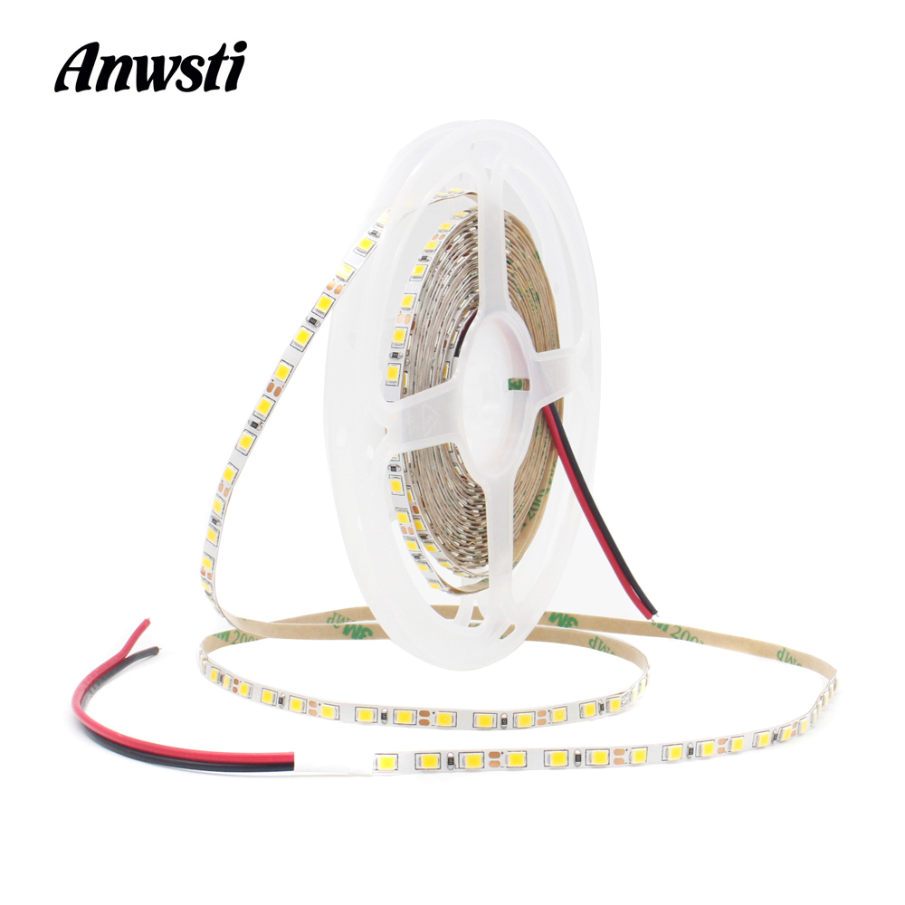 12V Slim <font><b>LED</b></font> Tape 5M SMD2835 <font><b>4MM</b></font> 8MM 120LEDs/M Warm White Tira 12V <font><b>LED</b></font> Strip Stripe Ribbon Light Flexible Home Indoor Decorative image