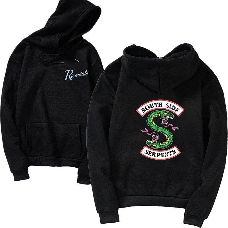 Women Hoodie Riverdale Sweatshirts Plus Size Hoodies South Side Serpents Hooded Pullover Winter Tops Sweet Femme Black Pink