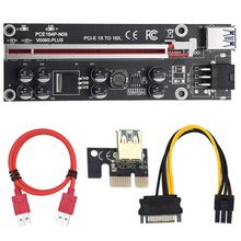10 pcs VER009S Plus PCI-E PCIE Riser 009s 6in PCI Express Adapter card Molex USB 3.0 Cable 1X 16X Extender