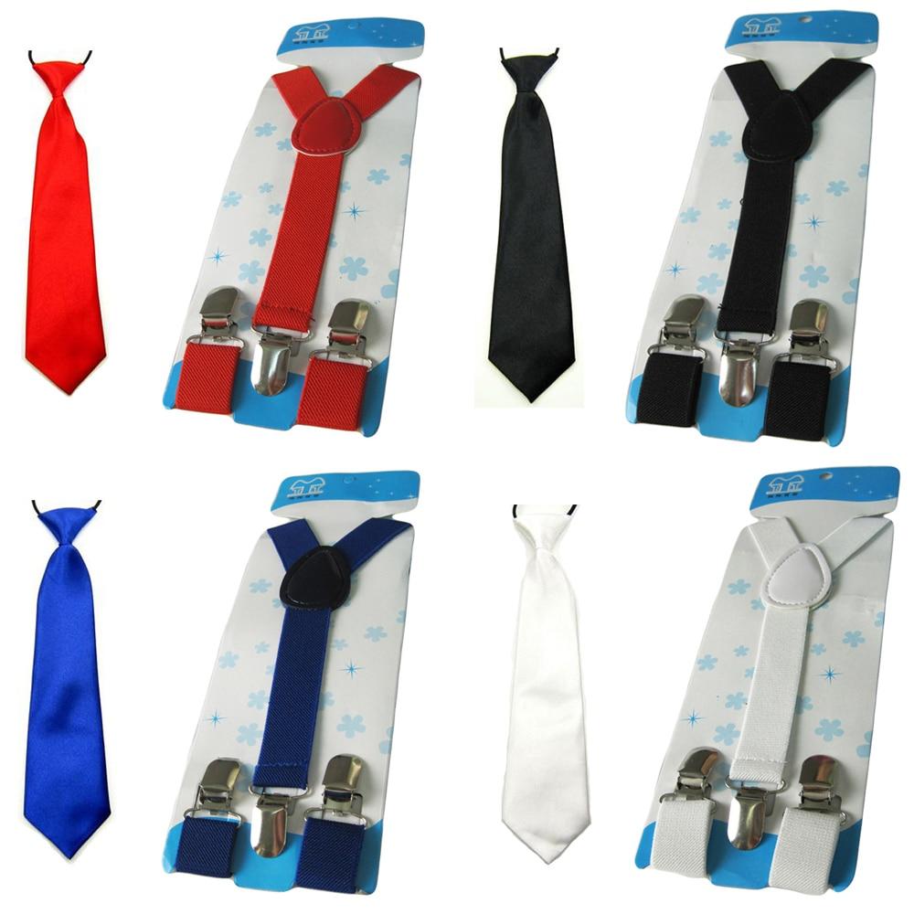 Kids Boys Child Solid Color Ties Necktie Y-Back Elastic Suspender Brace Set