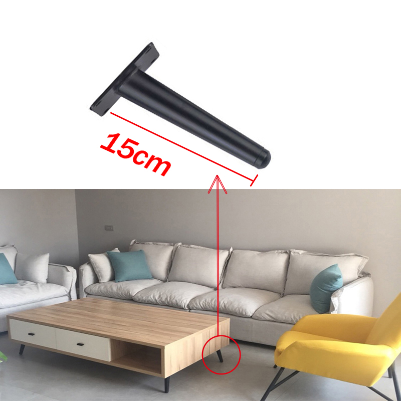 15cm1/4pcs Black Gold Oblique Tapered Furniture Table Leg Metal for TV Cabinet Counter Foot Chair Leg Sofa Tea Coffee Table Foot