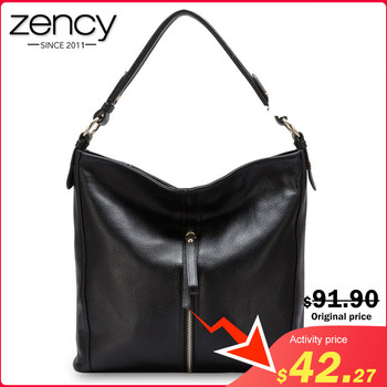Zency Fashion Female Shoulder Bag 100% Genuine Leather Handbag Elegant Women Messenger Crossbody Purse Satchel Tote Black