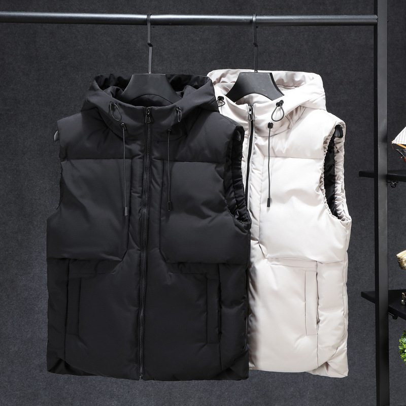 120KG Can Wear Winter Sleeveless Jacket Men Women Vest Warm Thick Hooded <font><b>Coats</b></font> Cotton-Padded Work Waistcoat Gilet Homme Vest <font><b>7XL</b></font> image