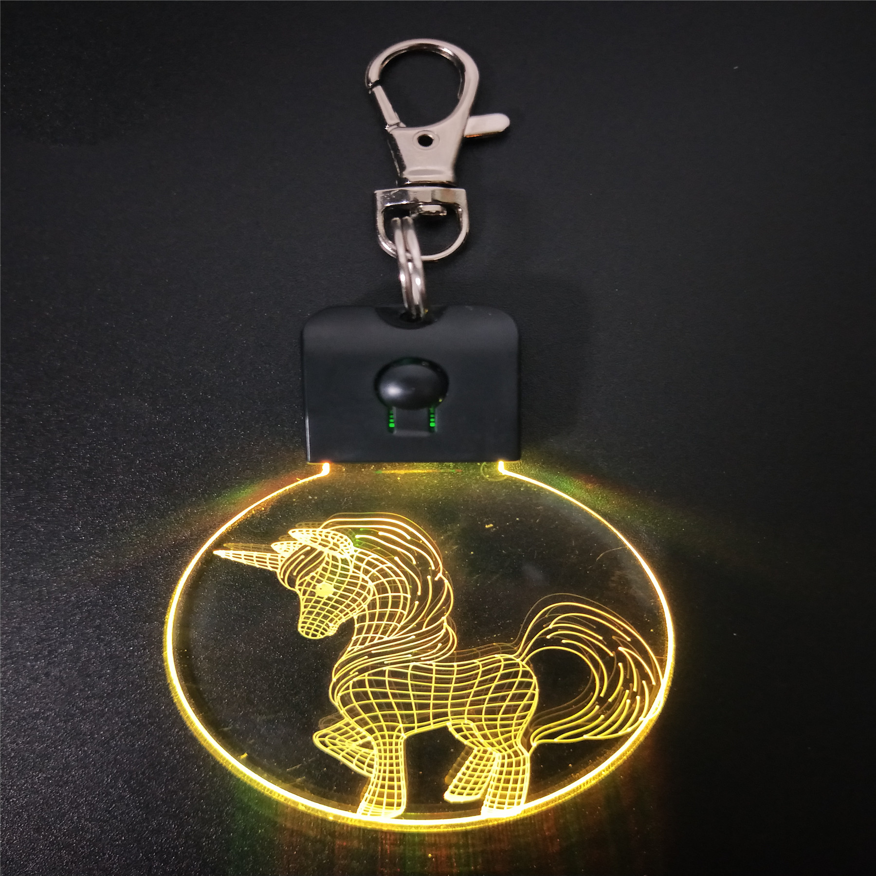 Unicorn Animal Keychain Shape 3D LED Arylic Night Light Magical Table Lamp Lighting Colors Decoration Gift With Li Battery