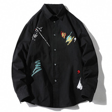 Men's Long Sleeve Shirts Black White Embroidered 100% Cotton Harajuku Casual Tops Male Streetwear Oversized Blouse Plus Size