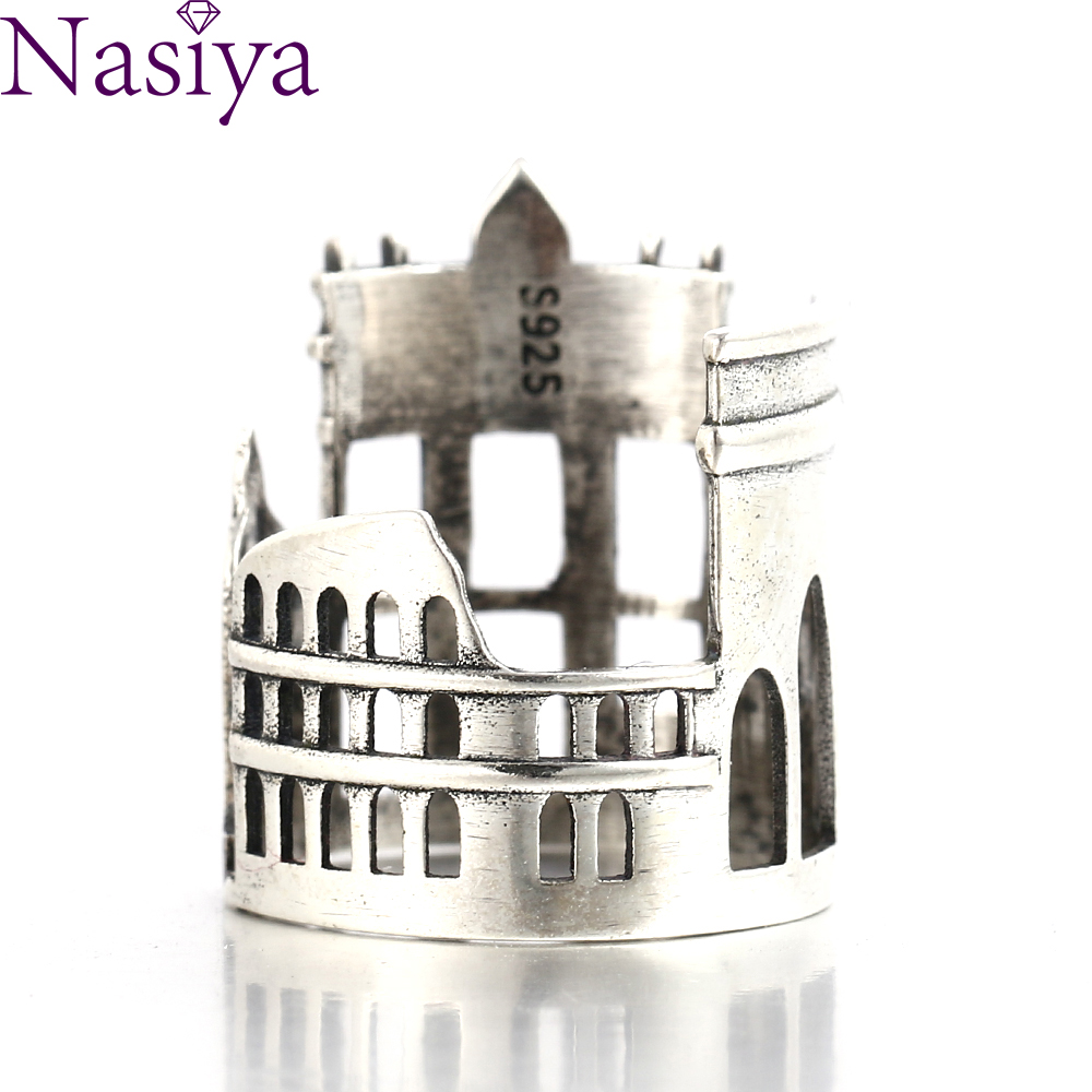 Nasiya 925 Sterling Silver London City Finger Ring British Building Souvenir Marble Arch Rings For Women Cocktail Jewelry