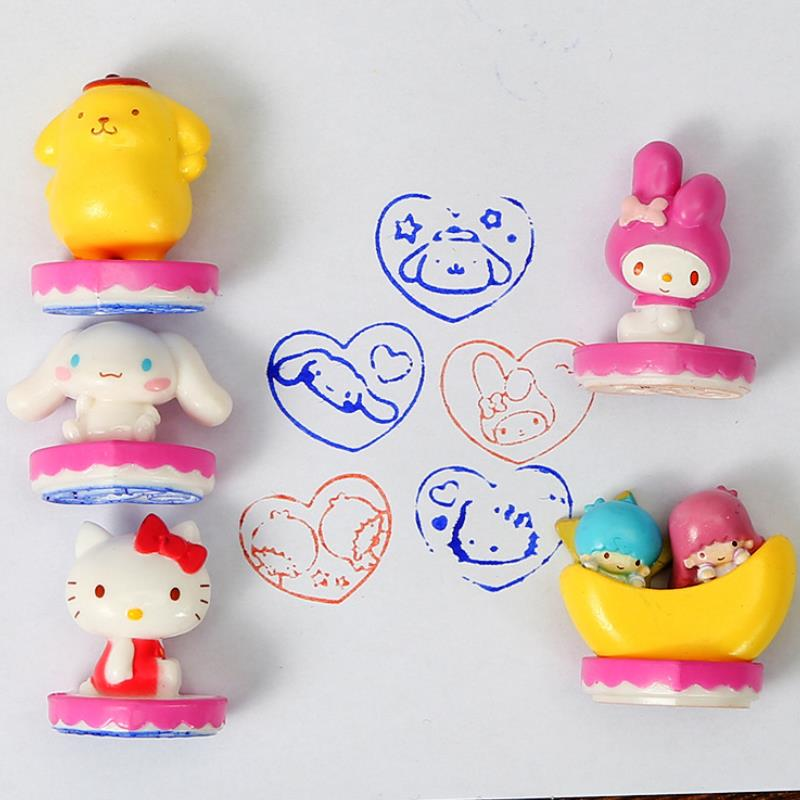 5Pcs/set New Lovely Melody Cinnamoroll Little Twin Stars Seal Stamp Custom Grip Post Decorative Figure Toys for Kids Gift(China)