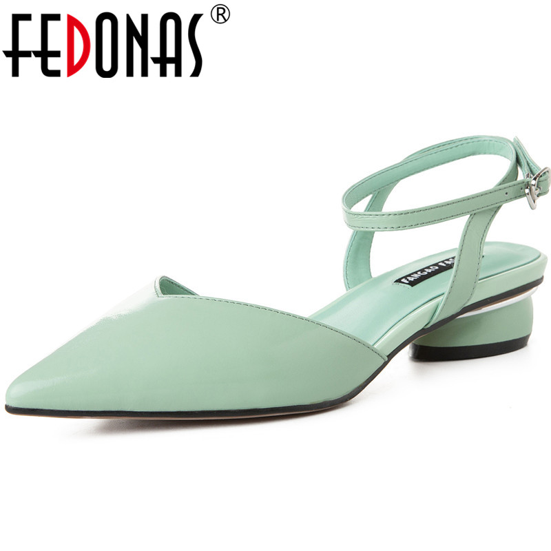 FEDONAS Vintage Sweet Point Toe Metal Decoration Elegant Women Pumps Shallow Genuine Leather Sandals Single Slip On Shoes Woman